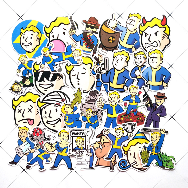 29 Pcs/lot Fallout Game Comic Part 1 PVC Cute Cartoon Stickers For Suitcase Skateboard Trolley Case Laptop Waterproof Decals