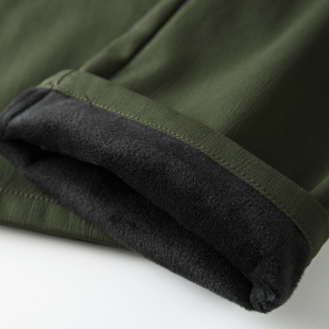 Men's Cargo Stretch Pants Winter Thick Warm Soft Shell Fleece Loose Trousers Shark Skin Army Military Tactical Waterproof Pants 6