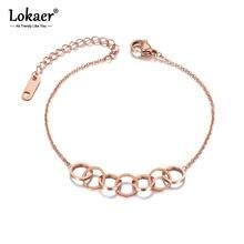 Lokaer-pulsera de eslabones de acero inoxidable y titanio para mujer y niña, brazalete con colgante de 7 círculos bohemios, cadena de oro rosa, joyería B19115