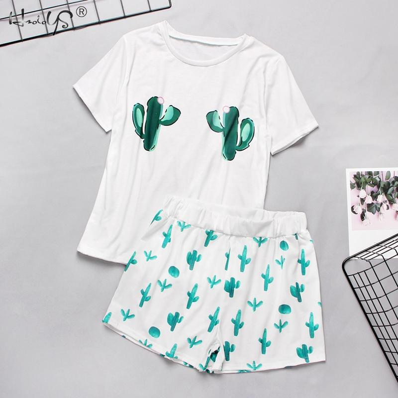 Spring Summer Women Pajamas Set Cartoon Casual Women's Clothing Pyjamas Suit Female Short Sleeve Tee Shirt Tops Sleepwear