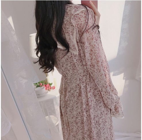 H93f78b2295d84871aa215c1ecffdcc064 - Autumn Puritan Collar Long Sleeves Chiffon Floral Print Lace-Up Slim Midi Dress
