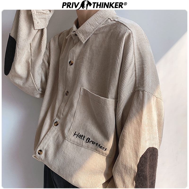 Privathinker Men Corduroy Patchwork Shirts 2020 Hip Hop Loose Long Sleeve Shirt Japan Streetwear Khaki Harajuku Shirt Oversized