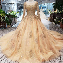 HTL258 Ball Gowns Evening Dresses For Women 2020 Sequined New Fashion O Neck Long Sleeves Handmade Crystal Apploques