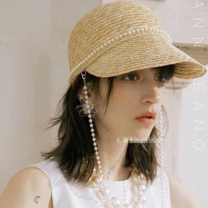Женский солнцезащитный козырек, японская жемчужная цепочка, украшение из натуральной пшеничной соломы, бейсбольная шляпа, модная конная шл...