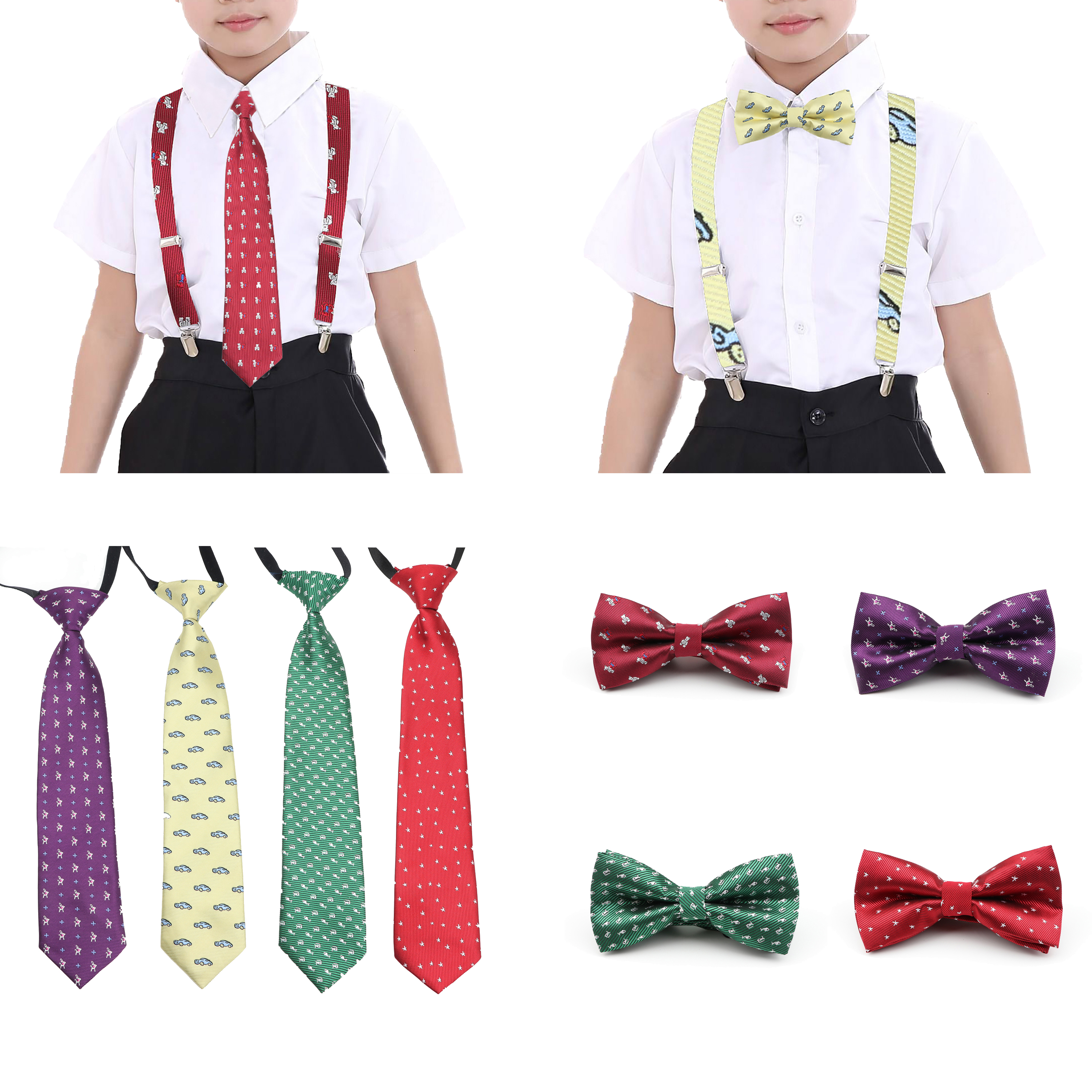 Cartoon Polyester Tie Handkerchief Star Car Bear Boy Girl Kid Elastic Necktie Parent-Child Bowtie Pet Butterfly Accessory Gift