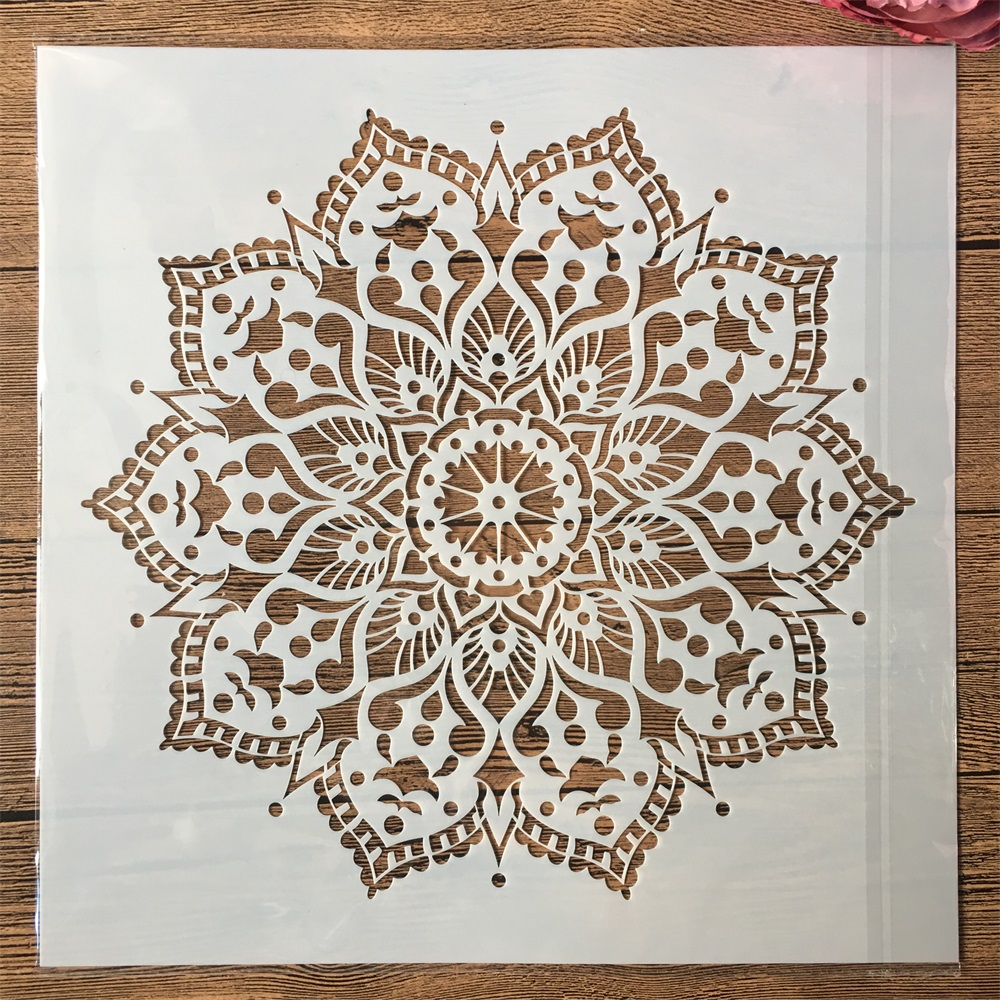 30*30cm Big Geometry Mandala Lotus DIY Layering Stencils Painting Scrapbook Coloring Embossing Album Decorative Template