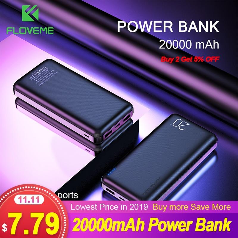 Floveme 20000 mah banco de potência para xiao mi iphone powerbank 20000 mah usb duplo portátil carregador de bateria externa poverbank