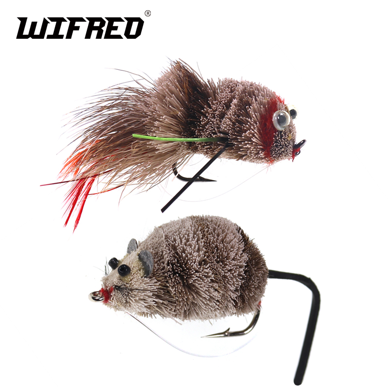 Wifreo Fly Fishing Deer Hair Bass Bug Mouse Rat Fly Floating Surface Frog Flies With Weed Guard Hook #2 #2/0