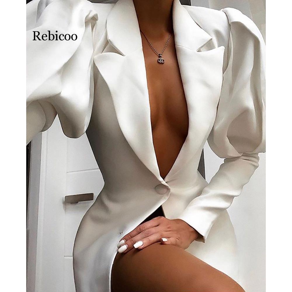 Long Puff Sleeve Elegant Blazer Autumn Women V Neck Single Breasted White Office Lady Workwear Jacket Blazer