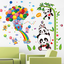 [SHIJUEHEZI] Pandas Elephant Animals Wall Stickers DIY Balloons Bamboo Height Decals for  Kids Room Baby Bedroom Decoration