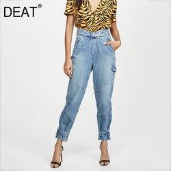 DEAT 2020 новые весенние светло-голубые джинсы с низкой талией и карманами на молнии, длинные модные джинсы, женские брюки WL60405L