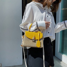 2020 summer new style straw woven female bag retro style small square bag all-match messenger bag shoulder bag straw woven bag