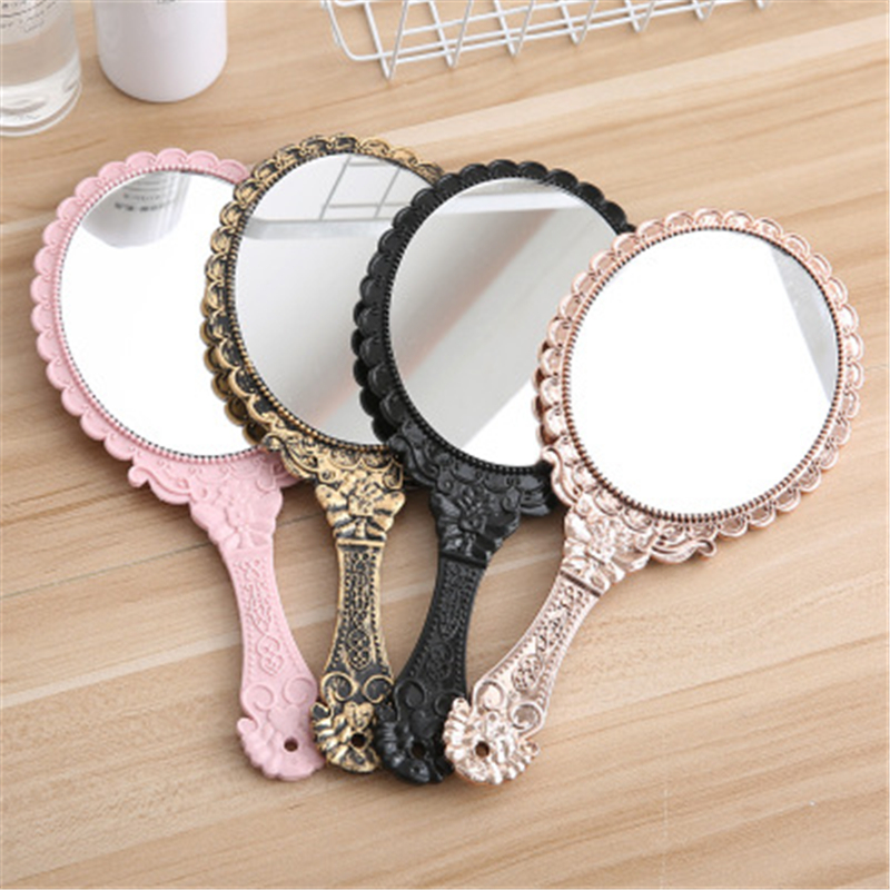 Vintage Handhold Makeup Mirror  European Style Repousse Floral Oval Round Cosmetic Hand Held Mirror Handle Ladies Beauty Dresser