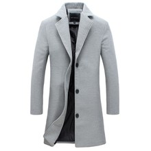 Męski płaszcz zimowy moda jednolity kolor długi trencz męski Vintage jednorzędowy biznes męski płaszcz Plus rozmiar wełniany płaszcz z mieszanki tanie tanio CN (pochodzenie) Pełna REGULAR Poliester STANDARD LSS190924MWY03 Suknem Wełna mieszanki NONE Stałe long Skręcić w dół kołnierz