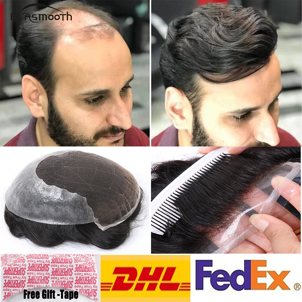 Natural Hairline Real Indian Remy Hair For Men Q6 Base Man Weave Unit Hair Replacement Toupee Mens Hairpieces