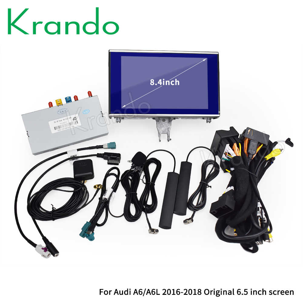 Krandoアンドロイド 10.0 アウディA6 A6L 2012-2018 8.4 ''カーラジオdvdナビゲーション、マルチメディアプレーヤーbluetooth