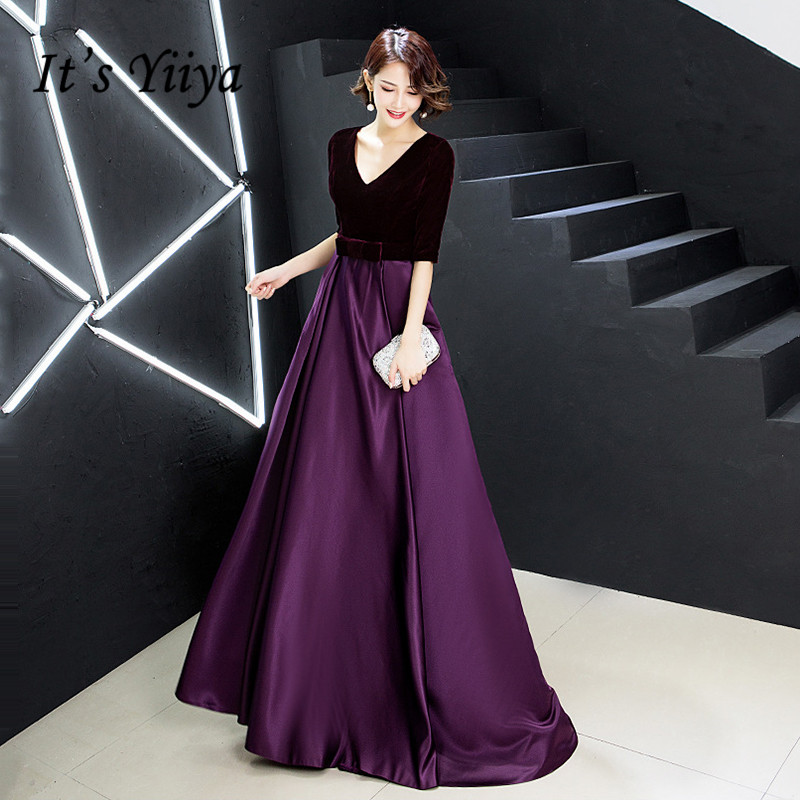 It's Yiiya Evening Gown V-neck Velvet Satin Elegant Evening Dresses Long 2020 Half Sleeve Plus Size Special Occasion Dress K246