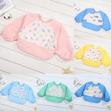 цена на Baby Kids Feeding Smock Cute Cartoon Baby Toddler Waterproof Long Sleeve Bibs Apron Kids Drawing Clothes