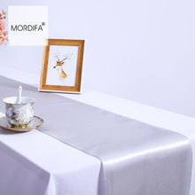 Silver Satin Wedding Table Runner Decorations  Fashion Christmas Runners Modern Luxury Restaurant Coffee
