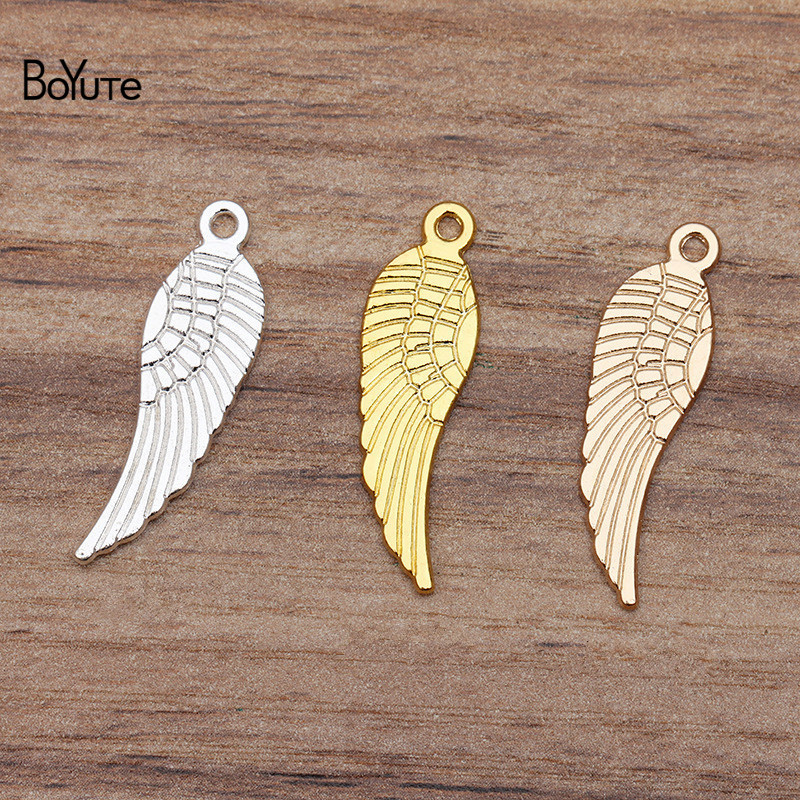 BoYuTe Wholesale (50 Pieces/Lot) Metal Alloy 30*9MM Wing Charms Pendant DIY Hand Made Jewelry Accessories