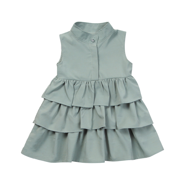 Toddler Kids Baby Girls Flare Wave Dress Cotton Party Pageant Tutu Ruffles Sundress Summer Sleeveless Button Princess Clothes