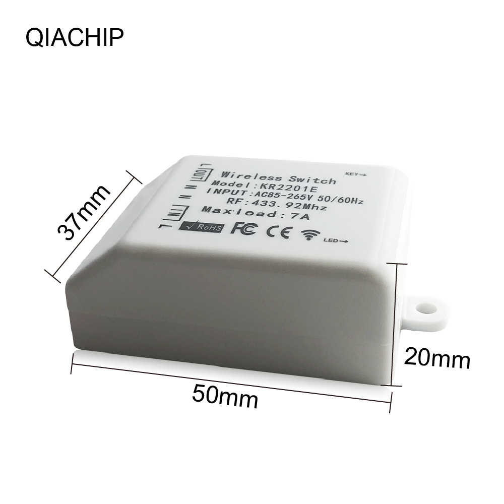 QACHIP 433.92MHz RF รีโมทคอนโทรลไร้สาย AC 110V 220V 1CH รีเลย์เครื่องส่งสัญญาณระยะไกลประตู light Controllor