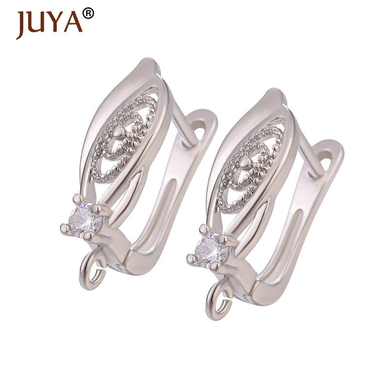 Fashion Earring Hooks Copper Metal Zircon Earrings For Jewelry Making DIY Woman Tassle Earrings Findings Handmade Accessories