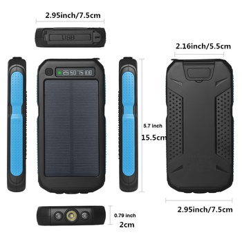 Solar Power Bank 30000mah LED Outdoor Powerbank for All smartphones External Battery Dual Light Portable Mobile Charger 4