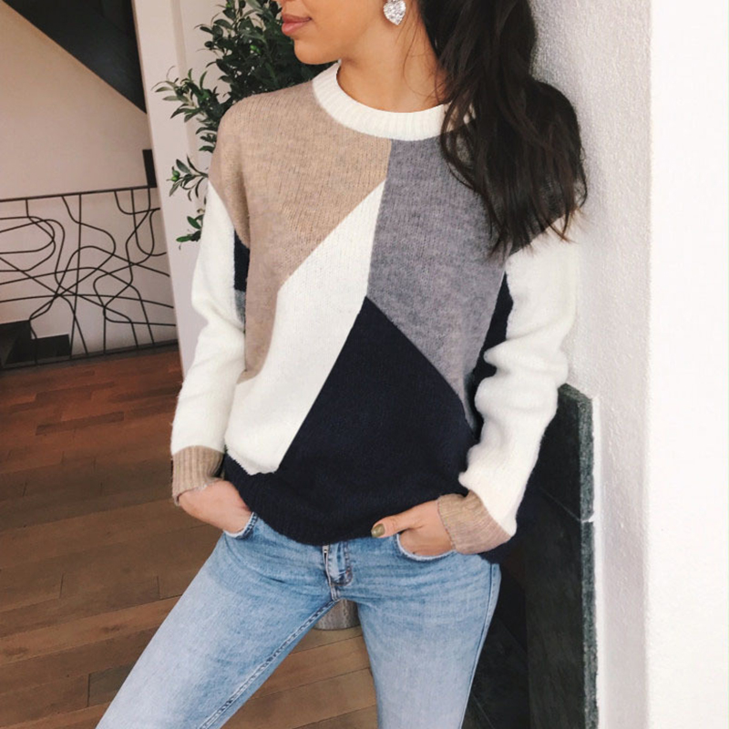 Spring Womens Color Block Thin Knitted Sweater Ladies Autumn Long Sleeve Sweater Pullover Female Crew Neck Casual Daily Sweater