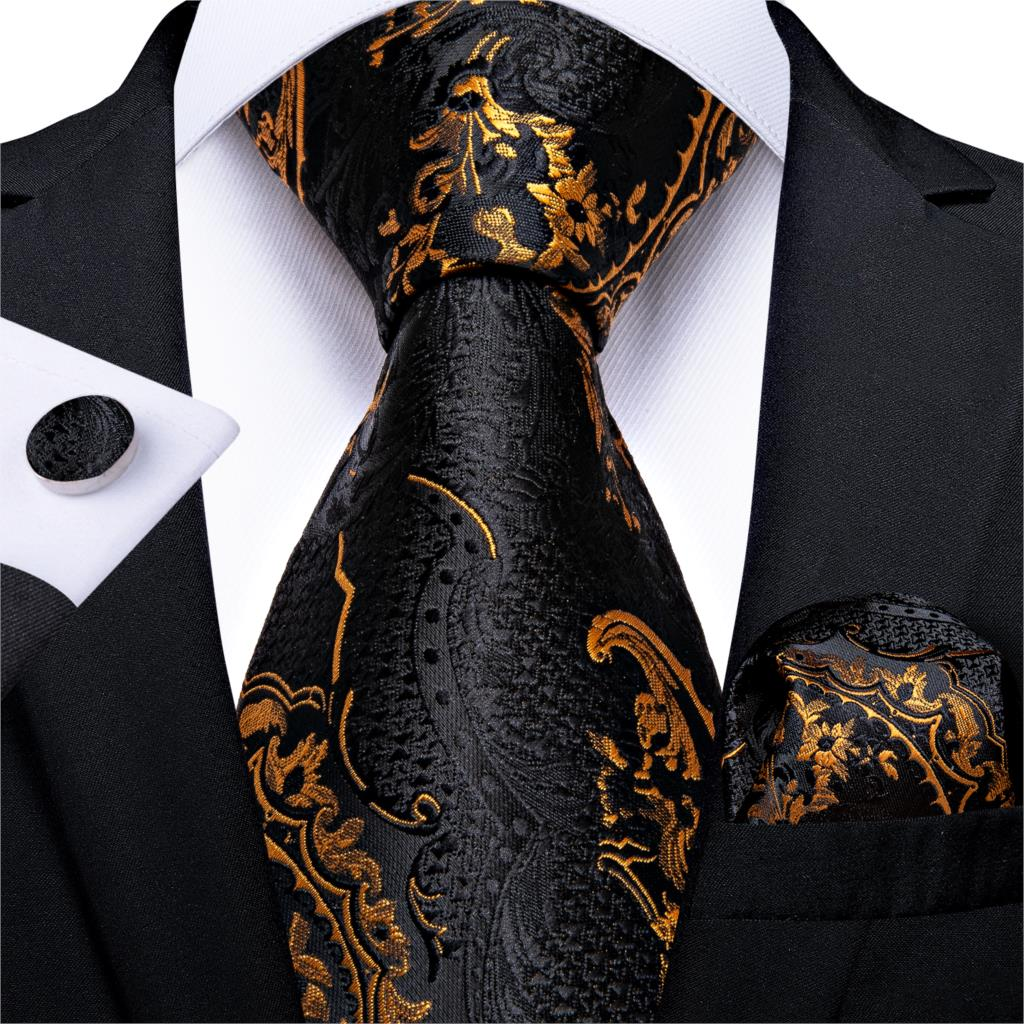 Men Tie Black Gold Paisley Quality Wedding Tie For Men Hanky Cufflink Silk Tie Set DiBanGu Novelty Design Business Party MJ-7313