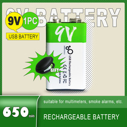 New 650mAh USB 9 Volt lithium Rechargeable battery 6F22 9V Li ion Batteries for Multimeter Microphone Toy Remote Control KTV Use