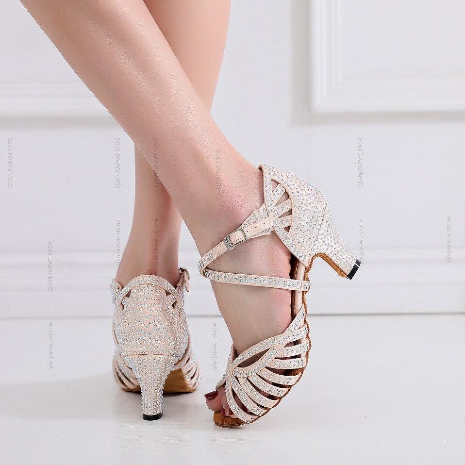 Hot Jazz Salsa Ballroom Latin Dance Shoes For Dancing Women Urban Modern Tango With Rhinestones Heel Schoenen Skin Sandals Pole