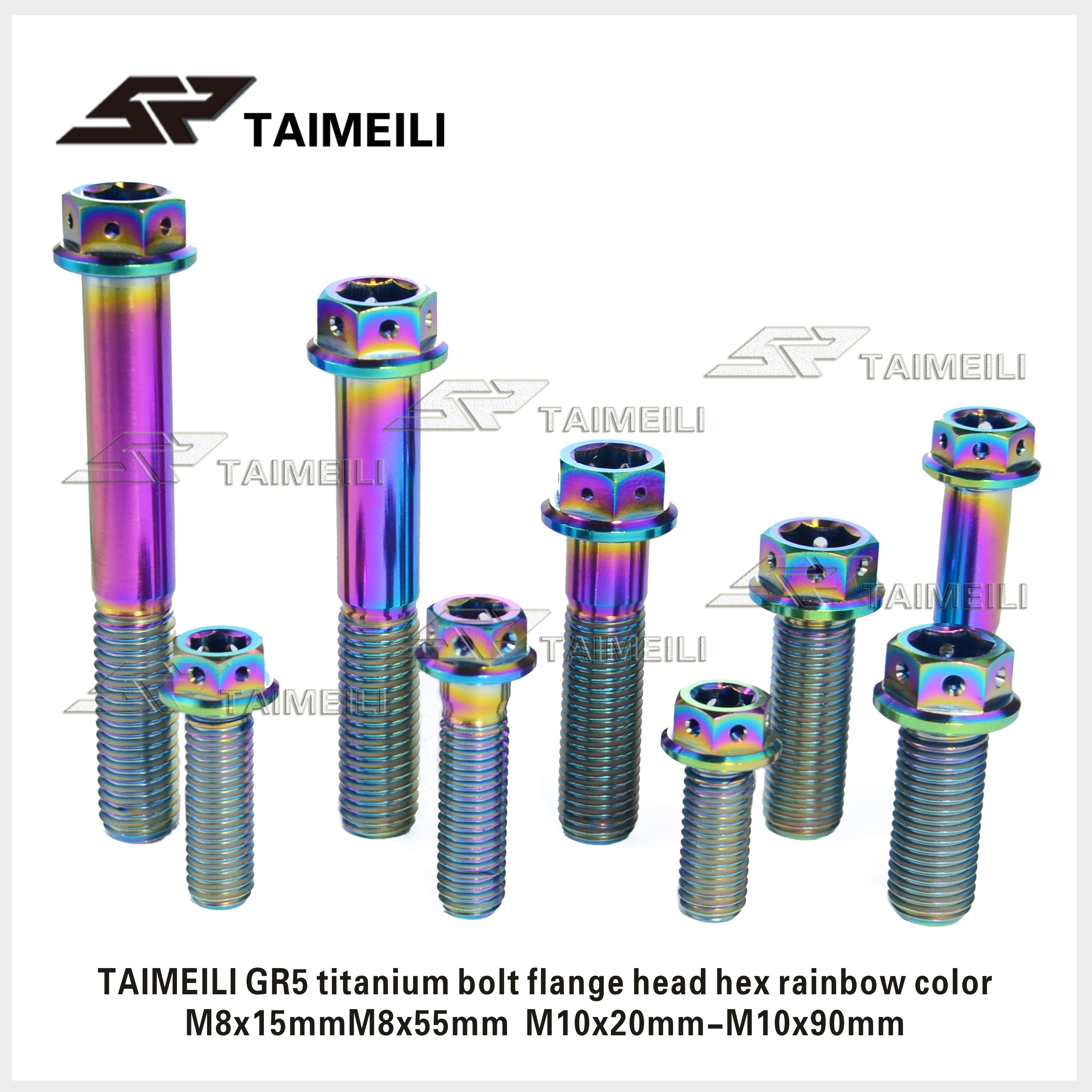 Titanium Alloy Bolt GR5 Flange Head Inside And Outside Hex Head M8M10x20-90mm Rainbow Color Motorcycle Conversion Bolt Repai