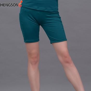Damskie spodenki turystyczne wysokiej talii szybkie suche oddychające spodenki turystyczne Fitness dla kobiet letnie solidne spodenki z kieszeniami tanie i dobre opinie Poliester spandex WOMEN Bayer Stałe Pasuje prawda na wymiar weź swój normalny rozmiar Suknem Sportswear Accessories