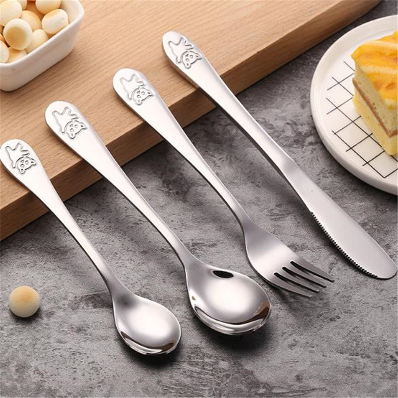 High Quality Stainless Steel Baby Portable Dishes Teaspoon Spoon Fork Knife Utensils Baby Kid Learning Eating Children Tableware
