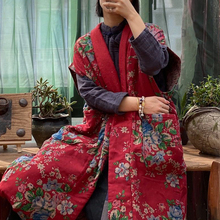 Coats Vests Chinese-Style Sleeveless Johnature Women Pocket V-Neck Vintage Winter Cotton