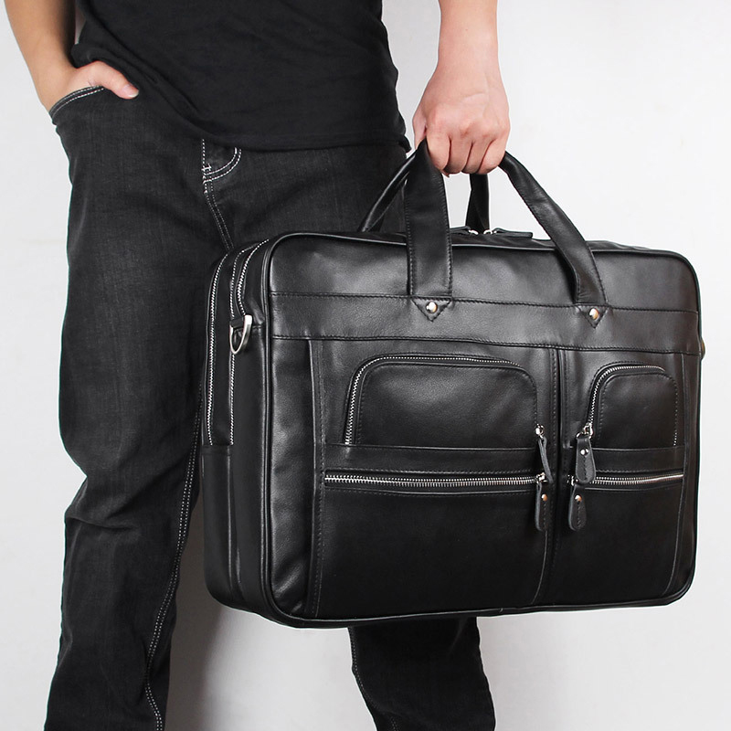 Bolsa de maletín para hombre de alta calidad, bolsa de negocios, para ordenador de 17 pulgadas, negra, marrón, nueva moda, para hombre - 6