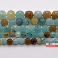 Natural stone Mixed Aqua Amazonite Jades Stone Beads For Bracelet Jewelry Making MAAB20(China)