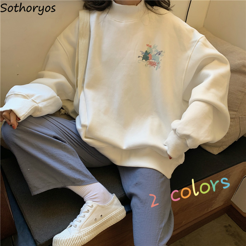 Женские толстовки с капюшоном, с принтом, водолазка, теплый плюс бархат, большие размеры, Kawaii, простые женские пуловеры, универсальные, корейский стиль, повседневная одежда Ulzzang|Толстовки и свитшоты|   | АлиЭкспресс