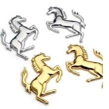 Liga de Zinco Logotipo Do Cavalo Do Metal  3D Emblema Etiqueta do emblema do Emblema Decalqu adesivos ferrarie Para ford Ferrari Car Window Bumper Corpo do carro Adesivo styling