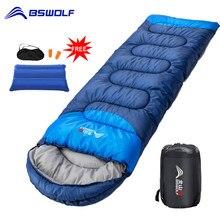 BSWOLF-saco de dormir para acampar ultraligero, impermeable, 4 Estaciones, saco de dormir cálido para mochilero, para viajar al aire libre, senderismo