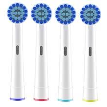 Sensível limpeza escova de dentes elétrica substituição cabeças recarga para braun oral b cabeças escova de dentes 4pcs cabeça