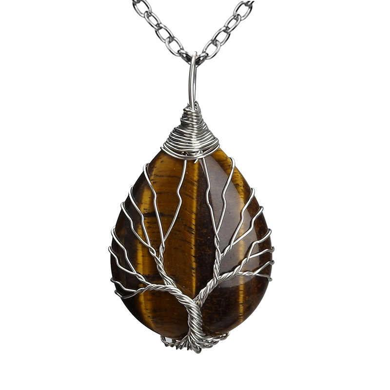 Натуральная кварцевая подвеска с опалом ручной работы розовое золото цвет ручной работы Дерево жизни обернутое в форме капли кристалл кулон ожерелье