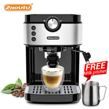 Zhoutu 19 Bar Espresso Coffee maker Machine with Milk Frother for Espresso, Latte and Mocha, Cappuccino,1372-1633 W