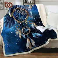 Manta BeddingOutlet atrapasueños Sherpa, cubrecama azul de galaxia, camas de felpa de águila calva, manta Bohemia, mantas para cama