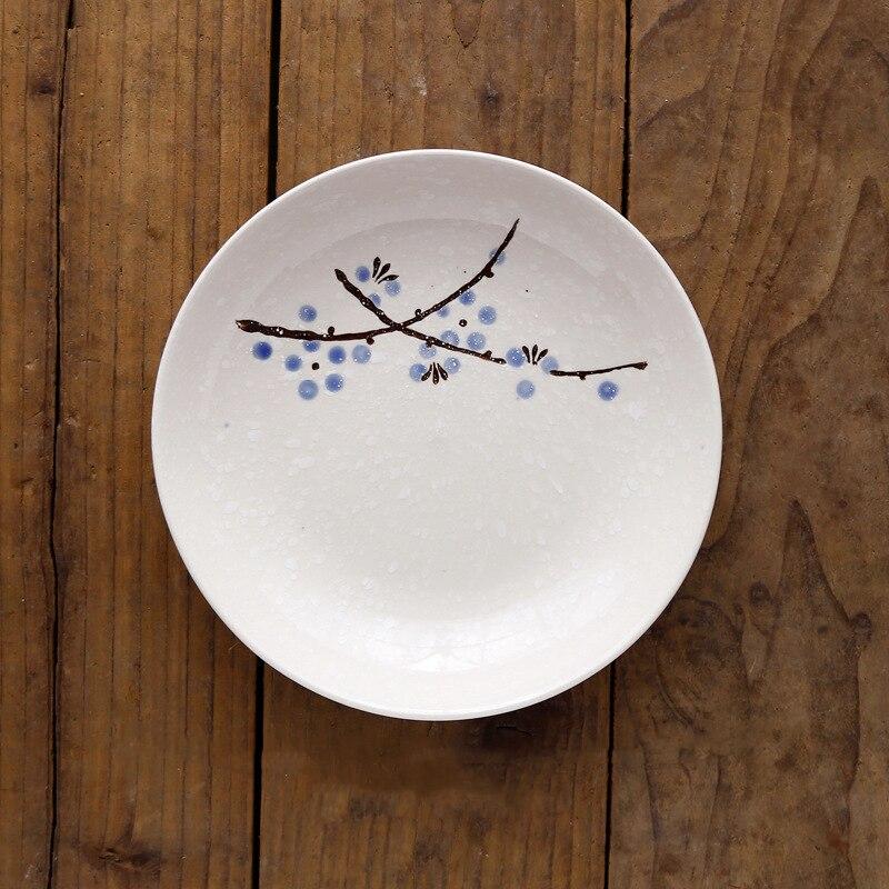 7/8 дюймов японский и корейский стиль подглазурная краска глубокая тарелка и ветер Снежинка керамическая ваза для фруктов посуда для супа риса блюдо - Цвет: Синий