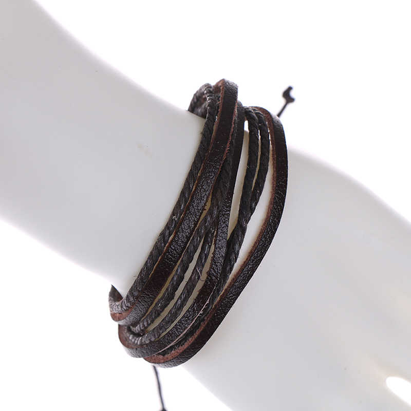 19 センチメートルブラックブラウン編組ロープファッション手首バンドブレスレット男性ジュエリーメンズ革ブレスレット & バングルボーイフレンドのガールフレンド