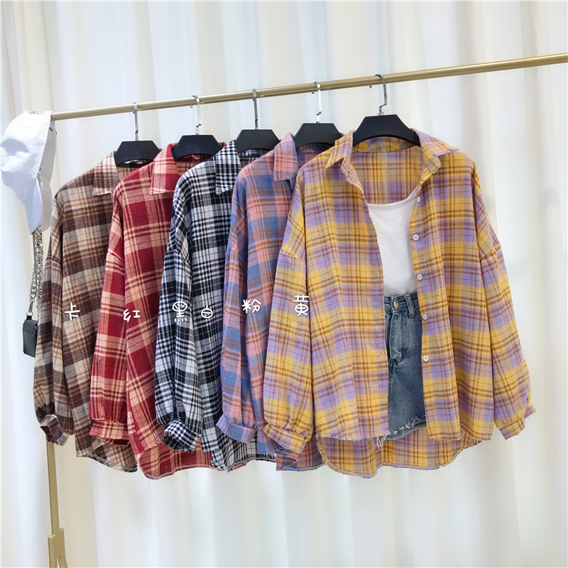 Fashion Women Chic Oversized Plaid Blouse Long Sleeve Female 2020 New Vintage Loose Casual Shirts Stylish Cotton Tops Blouse