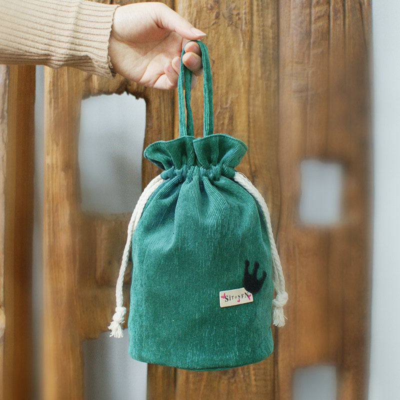 Storgage Bag Corduroy Drawstring Drawstring Bag Braised Cup Cup Set Lunch Bag Lunch Box Bag Mobile Phone Bag Purse