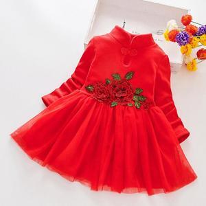 Bebê meninas vestidos para o traje de natal longo mangas compridas cheongsam vestido de princesa crianças 2 3 4 5 6 anos roupas da menina outono